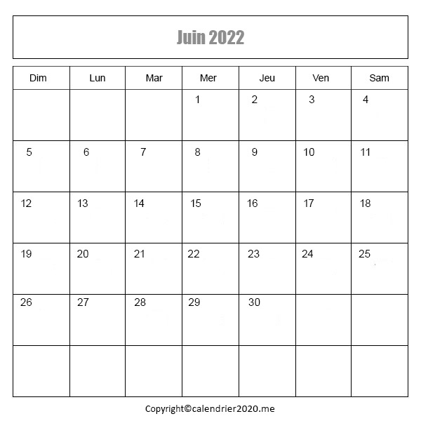 Calendrier Juin 2022 à imprimer