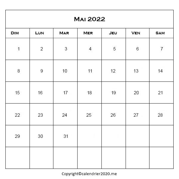 Mai 2022 Jours Fériés