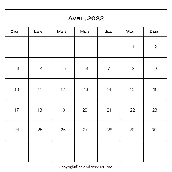 Avril 2022 Jours Fériés