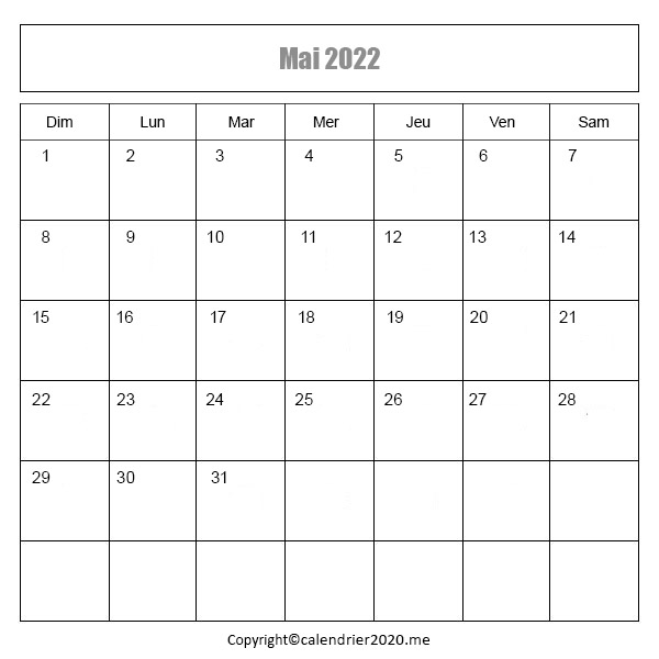 Calendrier Mai 2022
