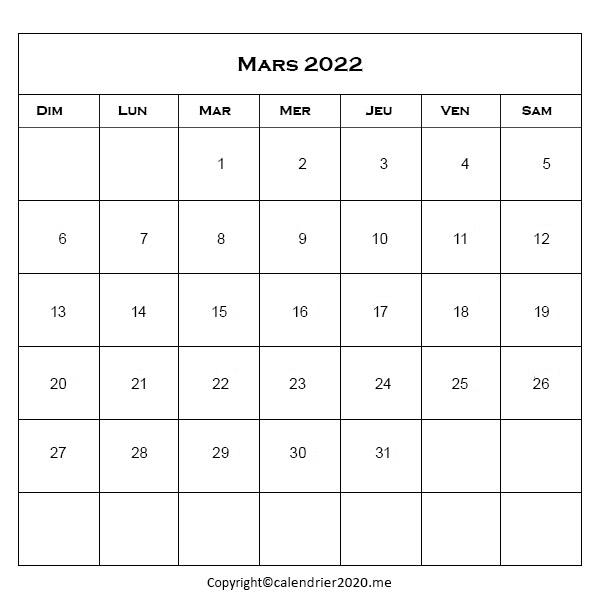 Calendrier Mars 2022